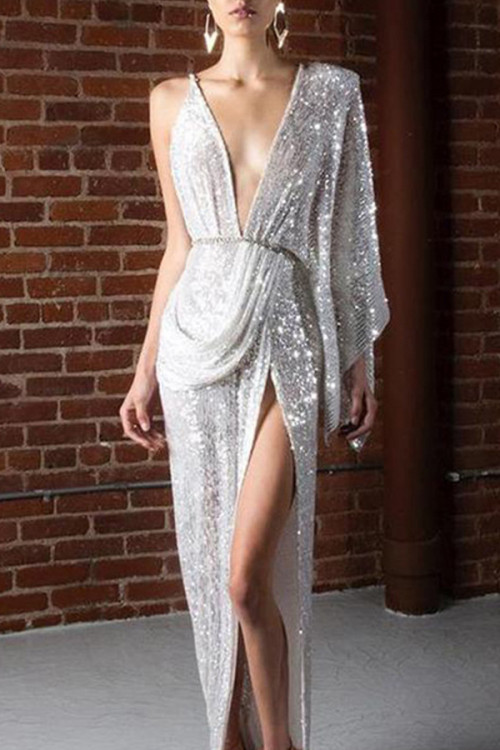 Backless Split Sequins Dress