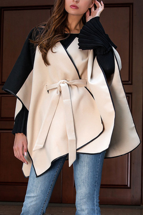 Batwing Sleeve Color Block Coat