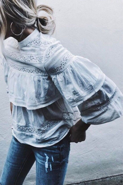Bell sleeves Solid Blouse
