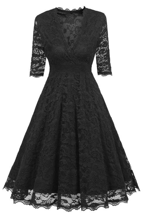 Cut Out V-neck A-line Dress