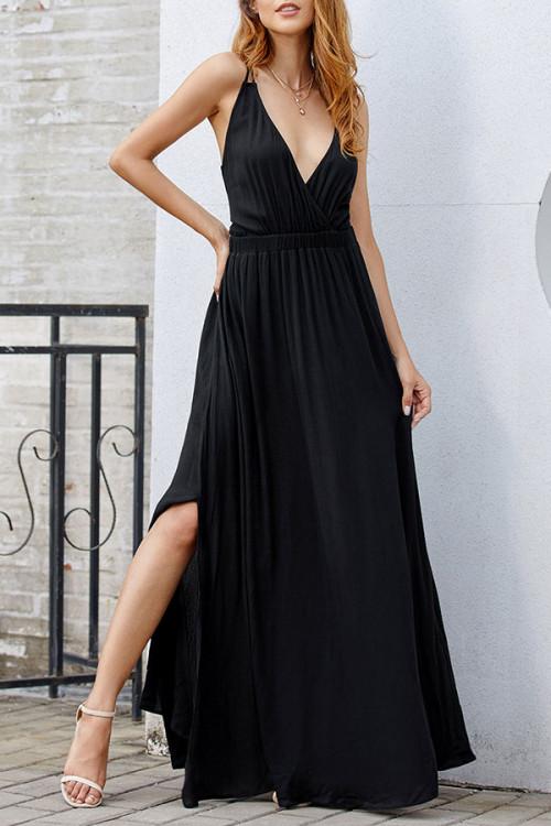 Black Backless Spaghetti Straps Dress
