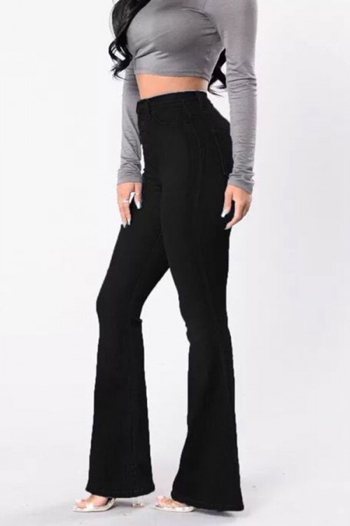 Black Flared Casual Pants