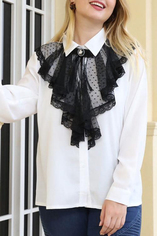 Black Lace Casual Blouse