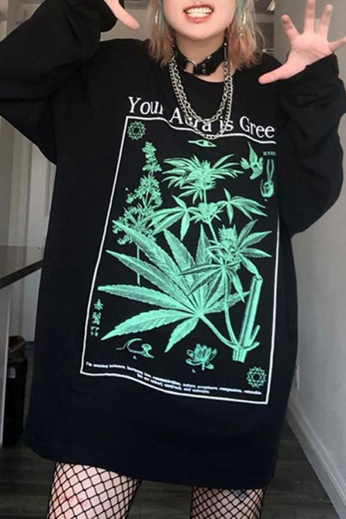 Black Print Casual Sweatshirt