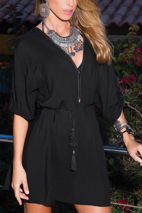 Black V-Neck Loose Dress