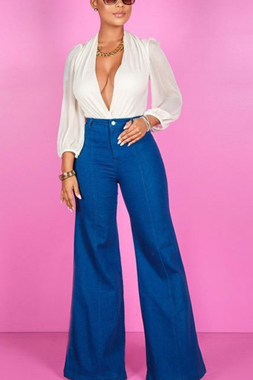 Blue Button Flare Jeans
