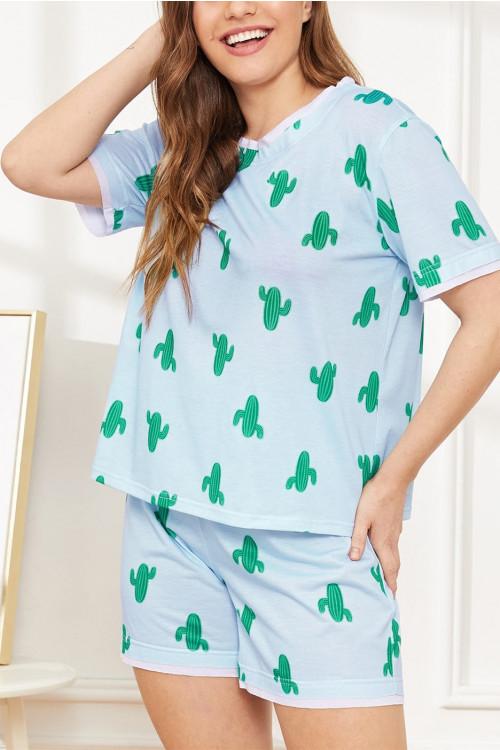 Blue Printed Pajama Set