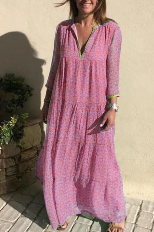 Bohemian V-neck Printed Swing Dress