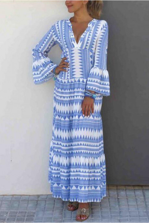 Boho Geometric V-neck Dress