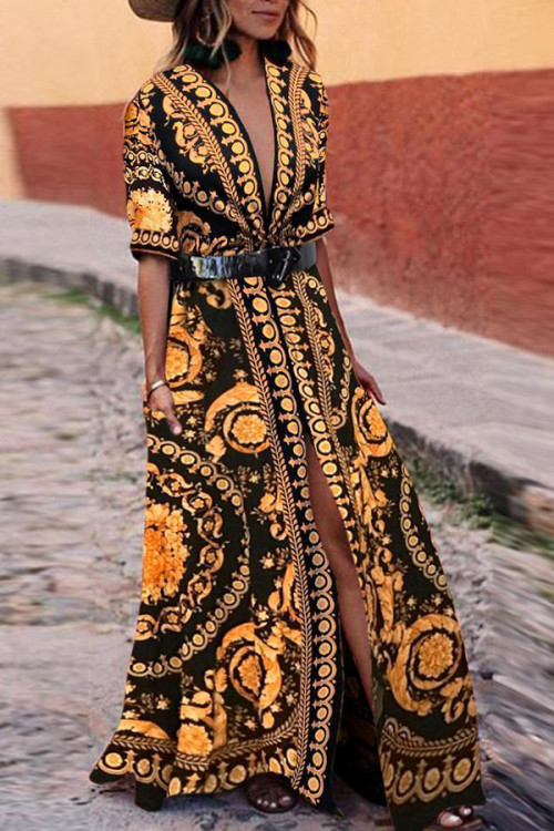 Boho V-neck Slit Printed Dress