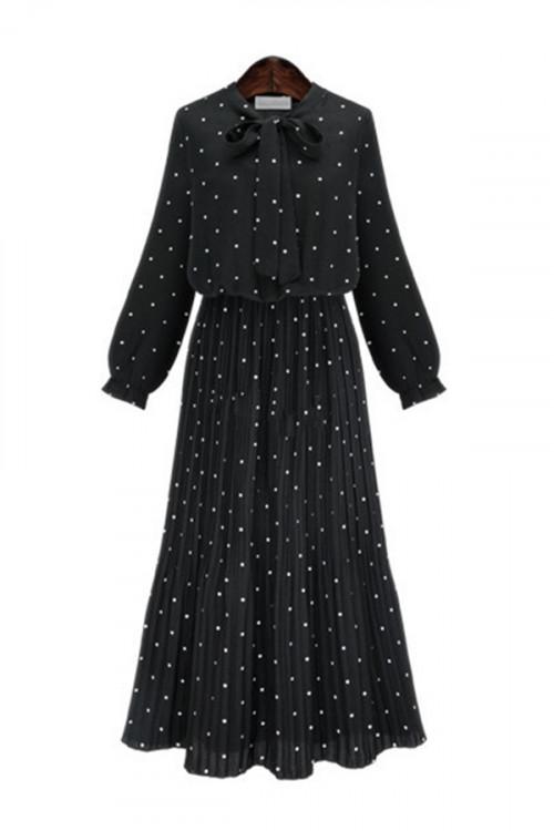 Bowknot Pleated Chiffon Dress