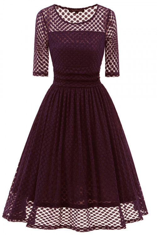 Polka Dot A-line Lace Dress