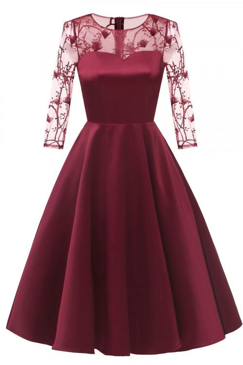 Applique Satin Homecoming Dress