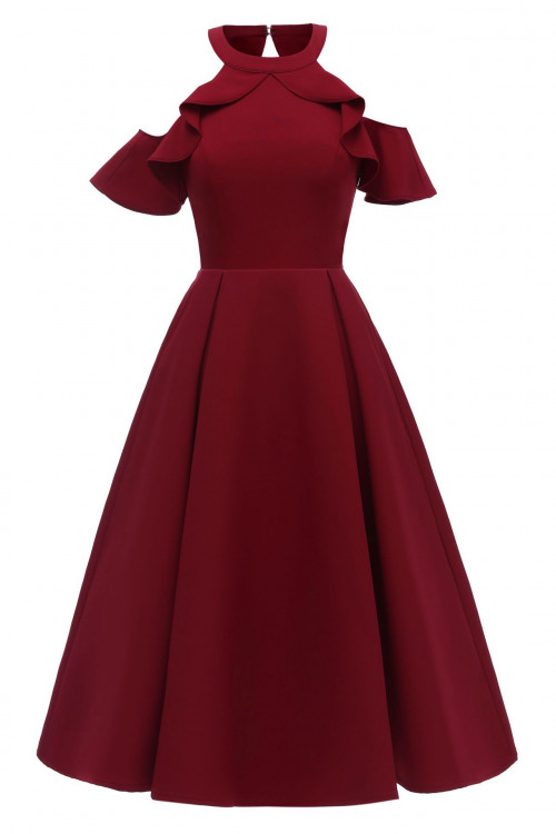 Ruffled Halter Off-the-shoulder Dress