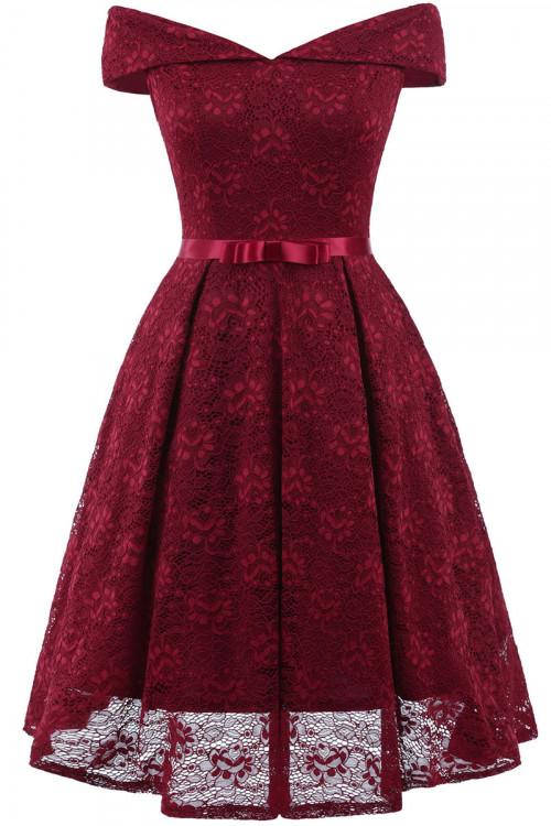 Lace Off-the-shoulder Belt Lace Dress