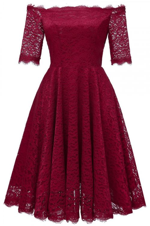 Off Shoulder Lace A-line Dress