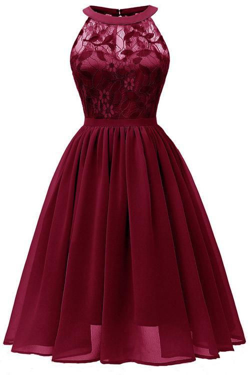 Sleeveless Lace Patched Chiffon Dress