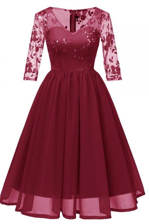 V-neck Embroidered A-line Dress