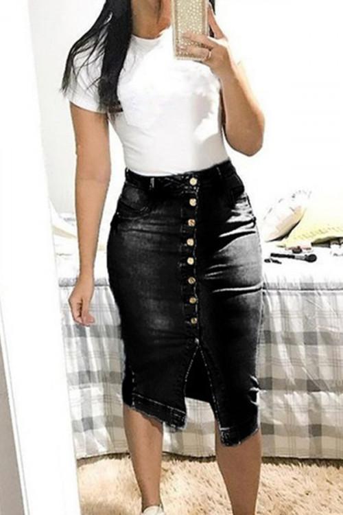 Buttoned Denim Butt-wrap Skirt