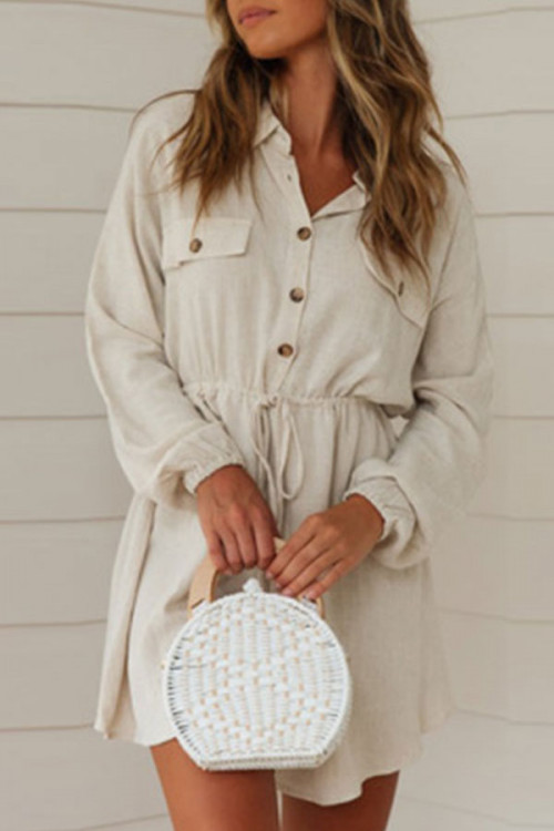Casual Crinched Shirt Dress