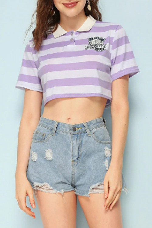 Casual Striped Cropped T-shirt
