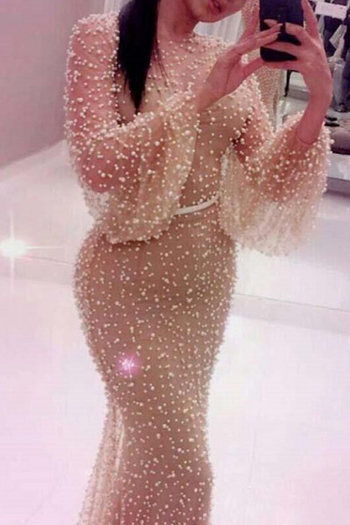 Champagne Puff Sleeve Tulle Dress
