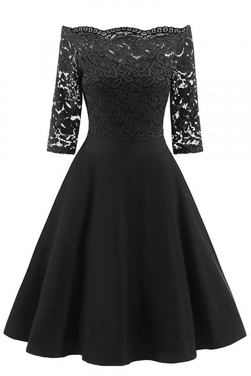 Lace Off Shoulder Homecoming Dress