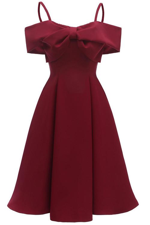 Chic Bowknot Satin A-line Dress