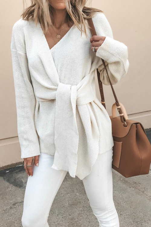 Chic Lace-Up Sweater Coat