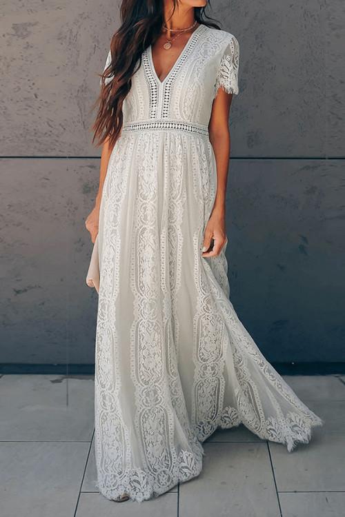 Chic V-neck Lace Dress