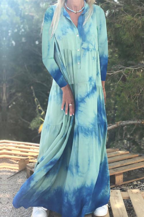 Collar Print Buttons Dress