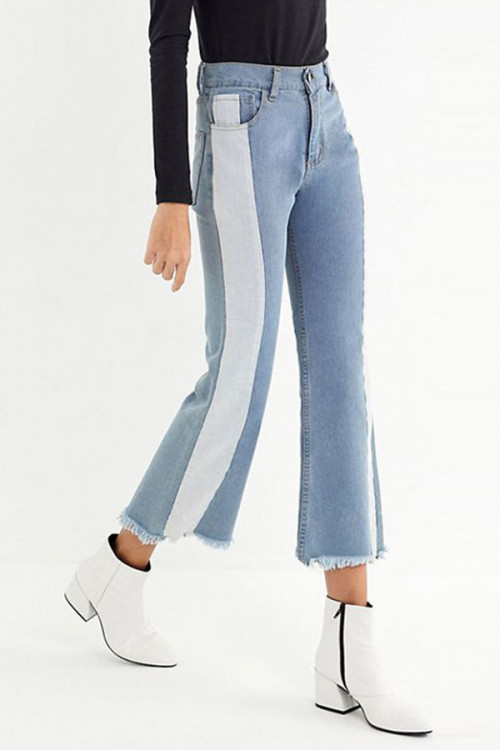 Color Block Frayed Jeans