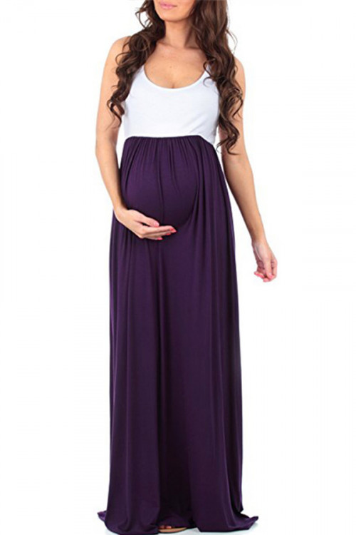 Color Block Long Maternity Dress Two Tones Photoshoot Gown