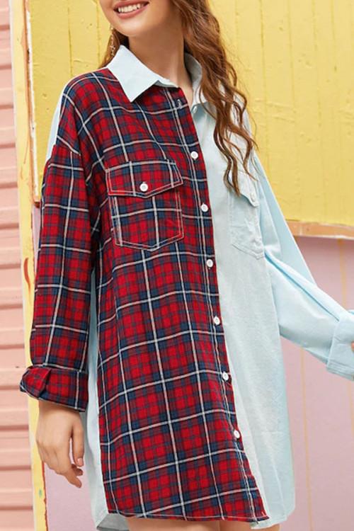 Color Block Plaid Shirt