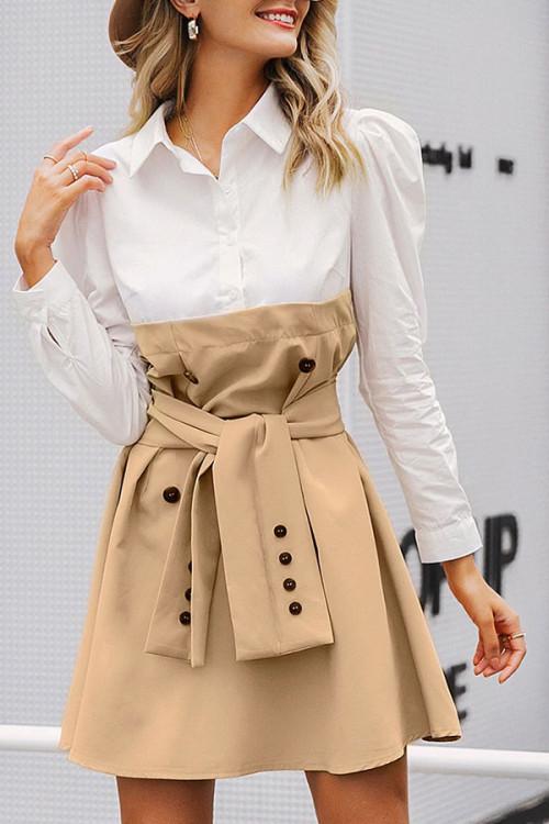 Color Block Tie Front Shirt Dress