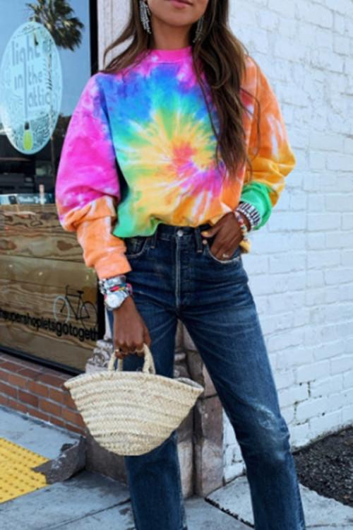 Colorful Print Scoop Sweatshirt