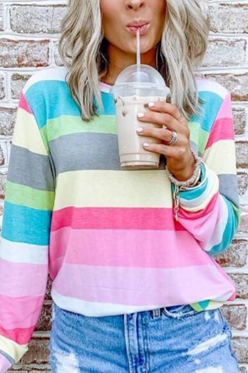 Colorful Striped Sweatshirt