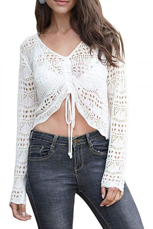 Crochet Mesh Tie Front Blouse