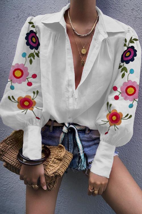 Cute Fashion Floral Collar Blouse
