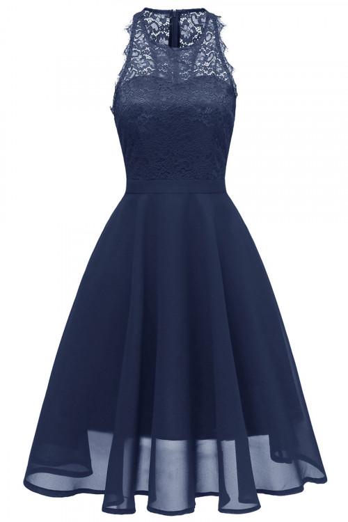 A-line Lace Midi Sleeveless Dress