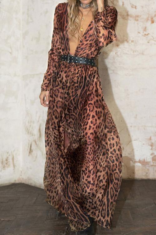 Deep V-Neck Chiffon Dress