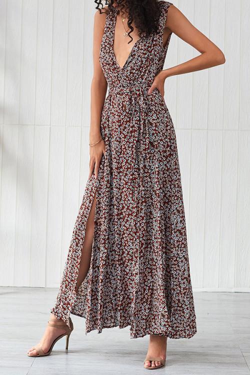 Deep V-Neck Print Dress