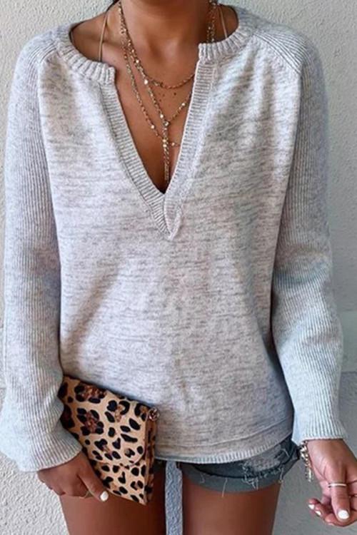 Deep V-neck Solid Sweater