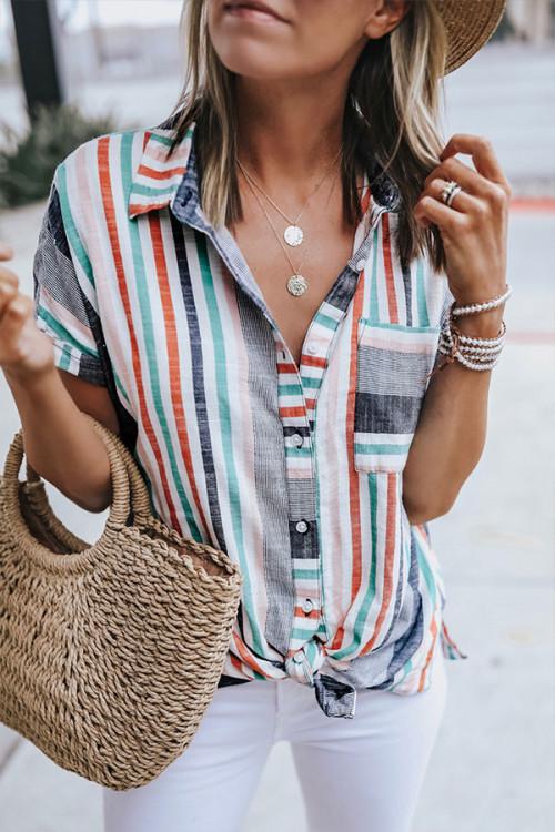 Digital Print Contrasting Stripes Shirt