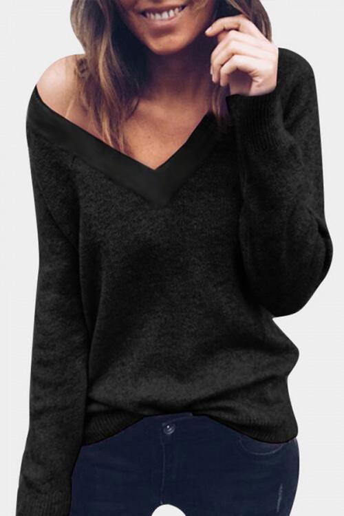Double V-neck Knit Sweater