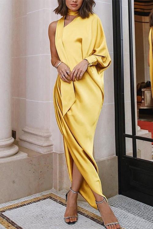 Elegant One-shoulder Side Slit Dress