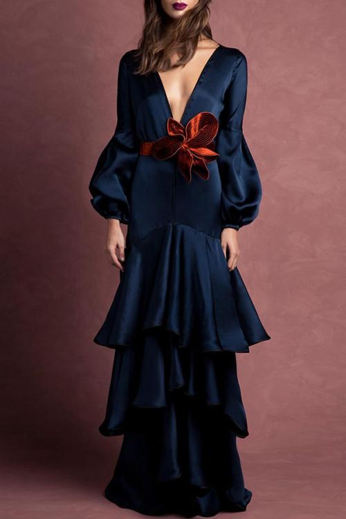 Elegant V-neck Layered Hem Dress