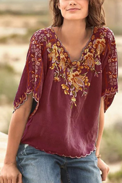 Embroidered Casual V-neck Blouse
