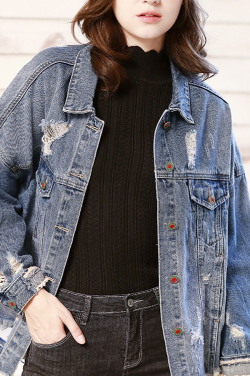 Embroidered Ripped Denim Coat