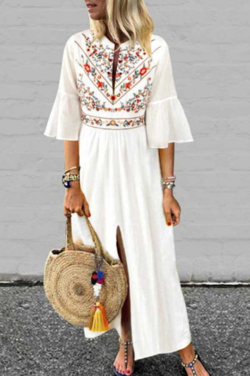 Ethnic Printed Slit Patchwork Dress